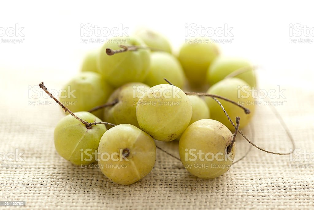 Collection of Organic Indian gooseberry (Phyllanthus emblica). stock photo