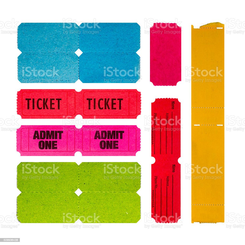 Collection of paper raffle tickets stock photo