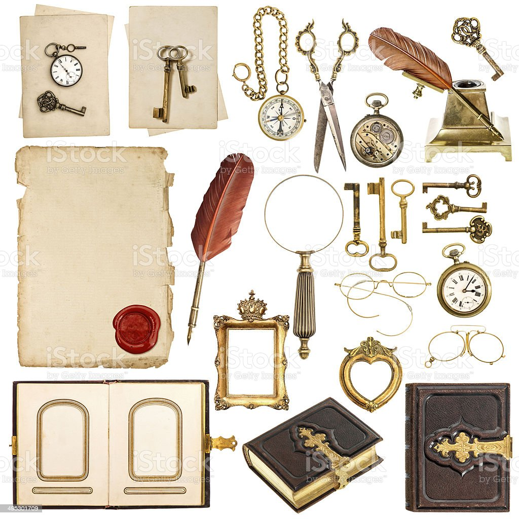 collection of paper sheets and vintage golden accessories stock photo