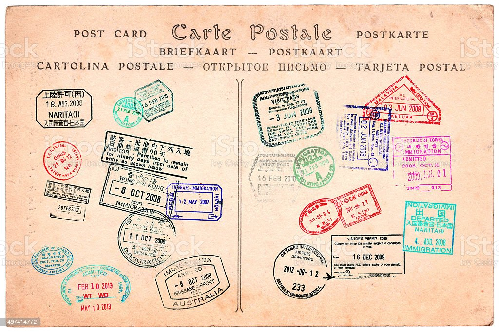 Collection of passport stamps on a vintage postcard background stock photo