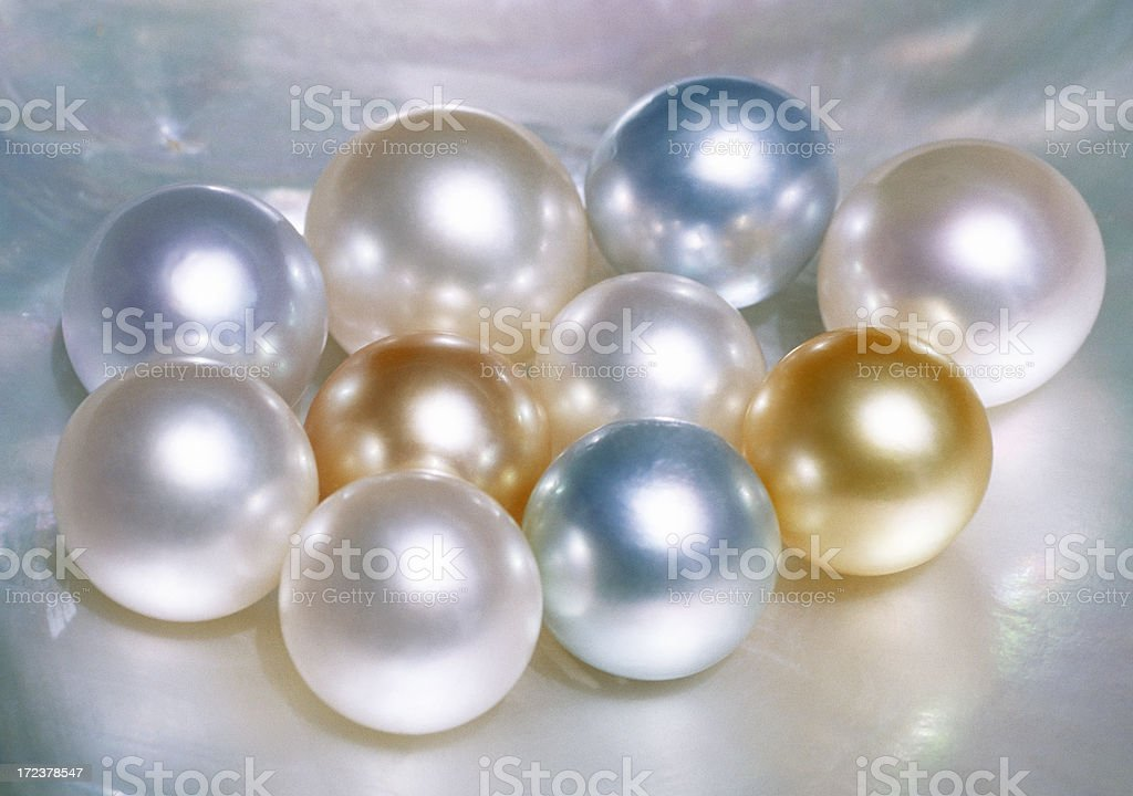 Collection of pearls, cultured and in different colors royalty-free stock photo