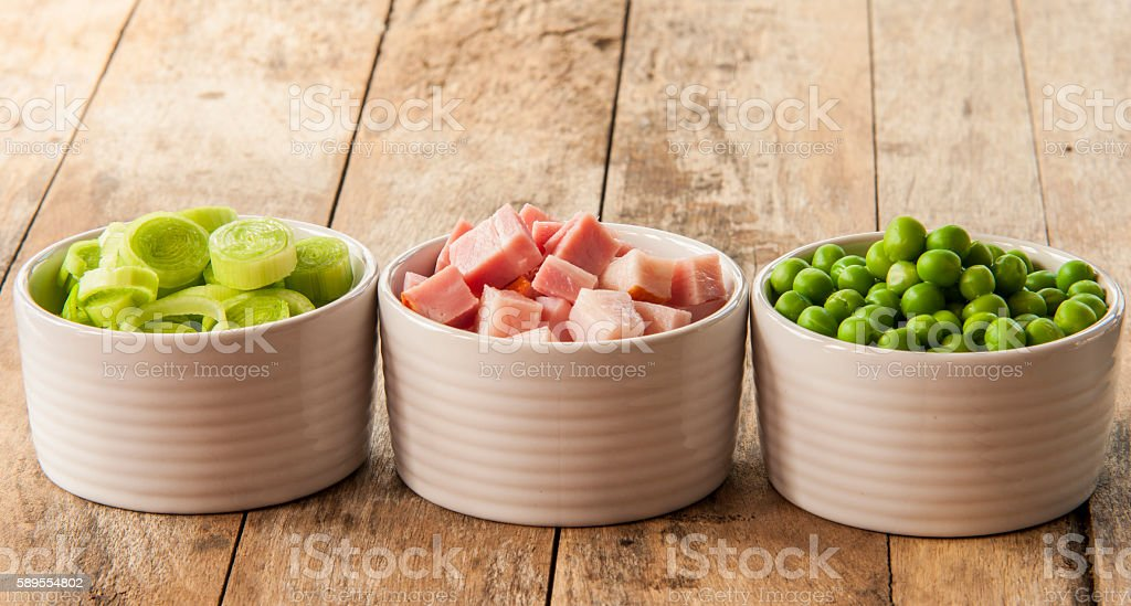 collection of peas,leek and bacon stock photo