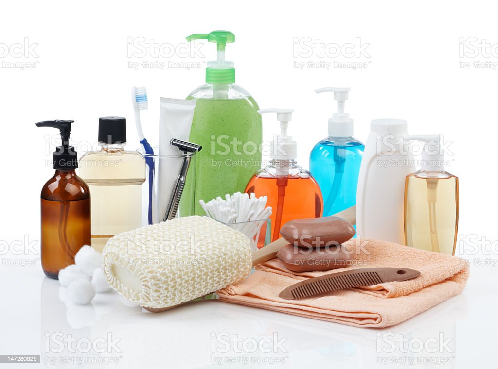 Collection of personal hygiene products stock photo