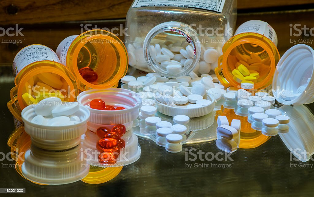 Collection of Pharmaceutical Pills , Capsules , and Drugs stock photo