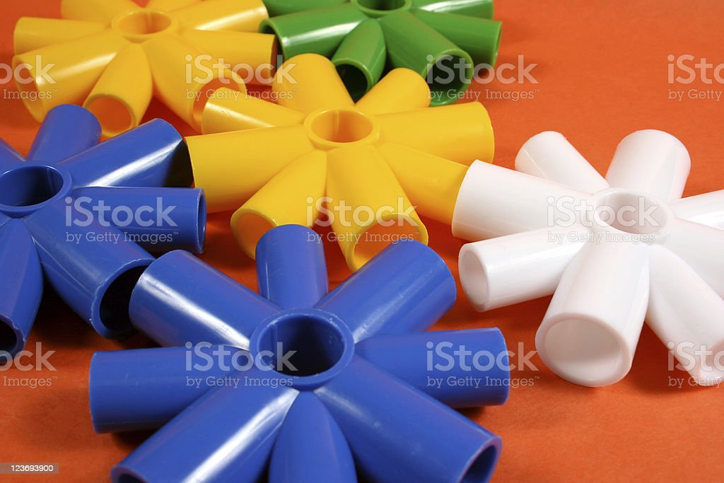 Collection of plastic toys used for learning kindergarten age group. royalty-free stock photo