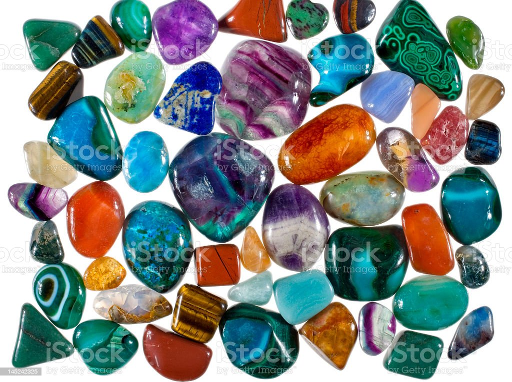 collection of polished precious stones royalty-free stock photo