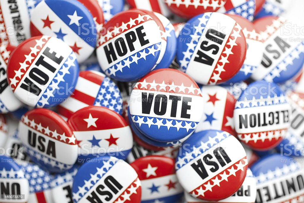 collection of political pins stacked royalty-free stock photo