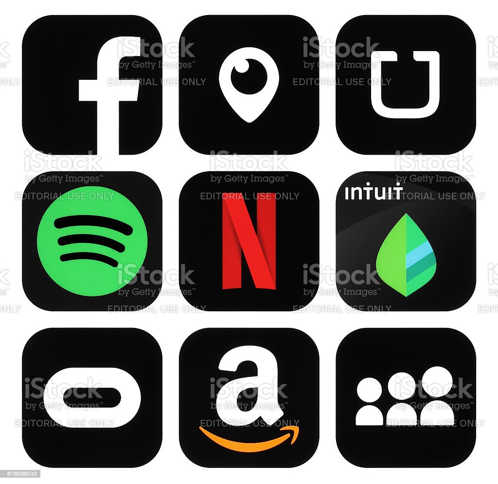 Collection of popular black social media, business logo icons stock photo