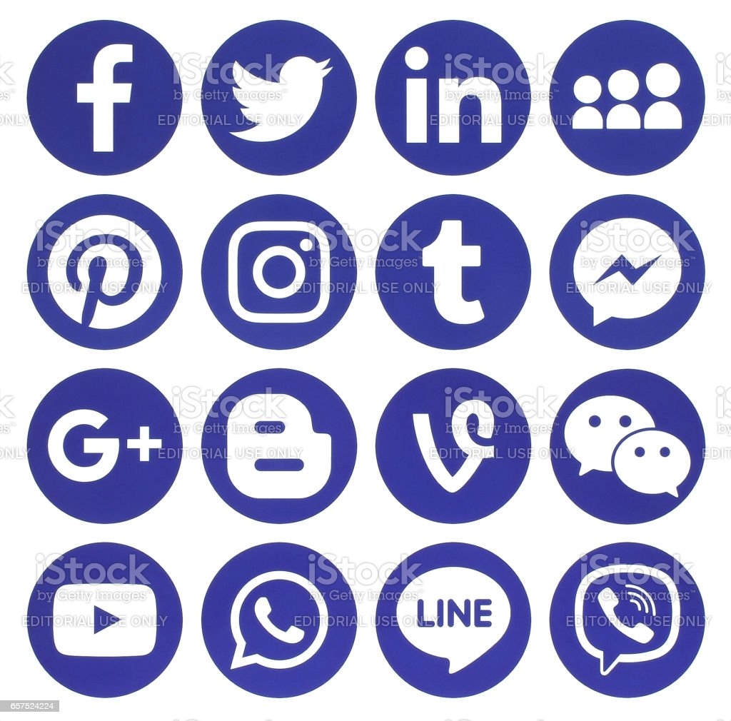 Collection of popular blue round social media icons stock photo