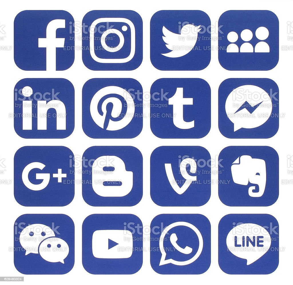 Collection of popular blue social media icons stock photo