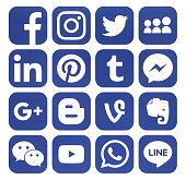 Collection of popular blue social media icons