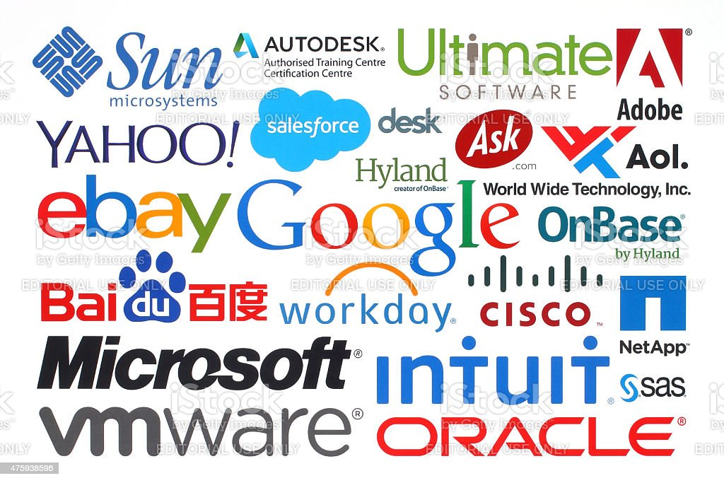 Collection of popular internet companies printed on paper stock photo