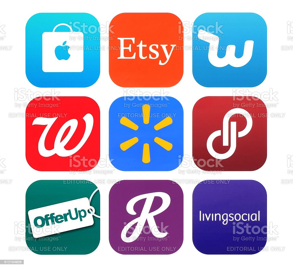 Collection of popular shopping icons printed on paper stock photo