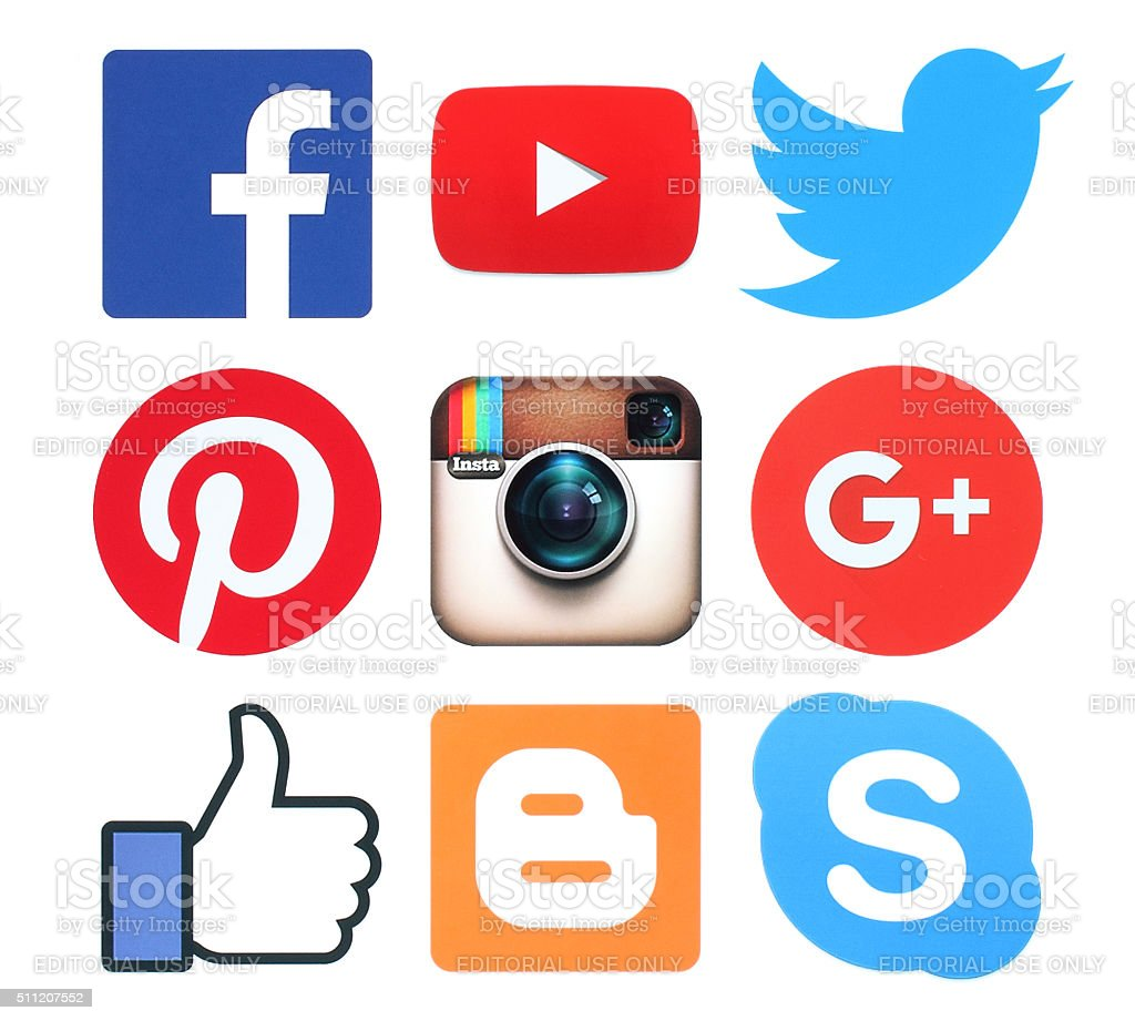 Collection of popular social media logo signs printed on paper stock photo