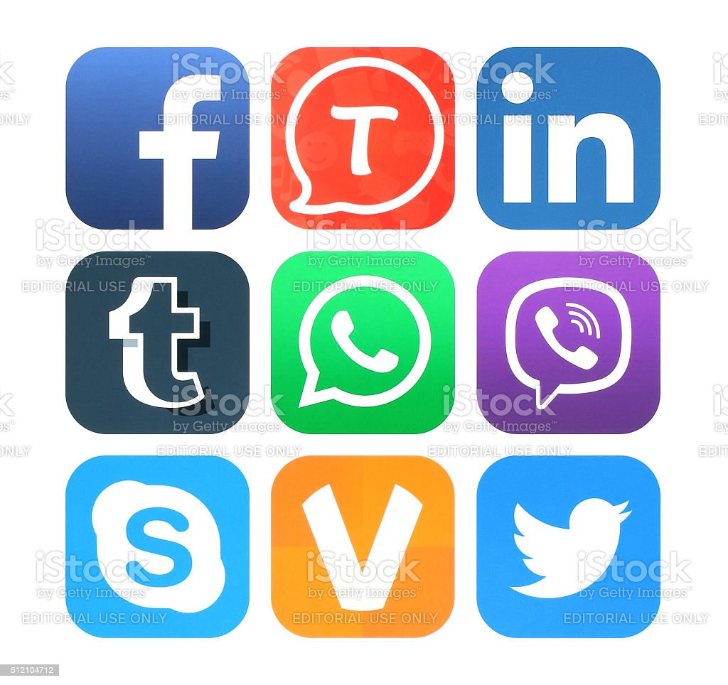 Collection of popular social networking icons stock photo