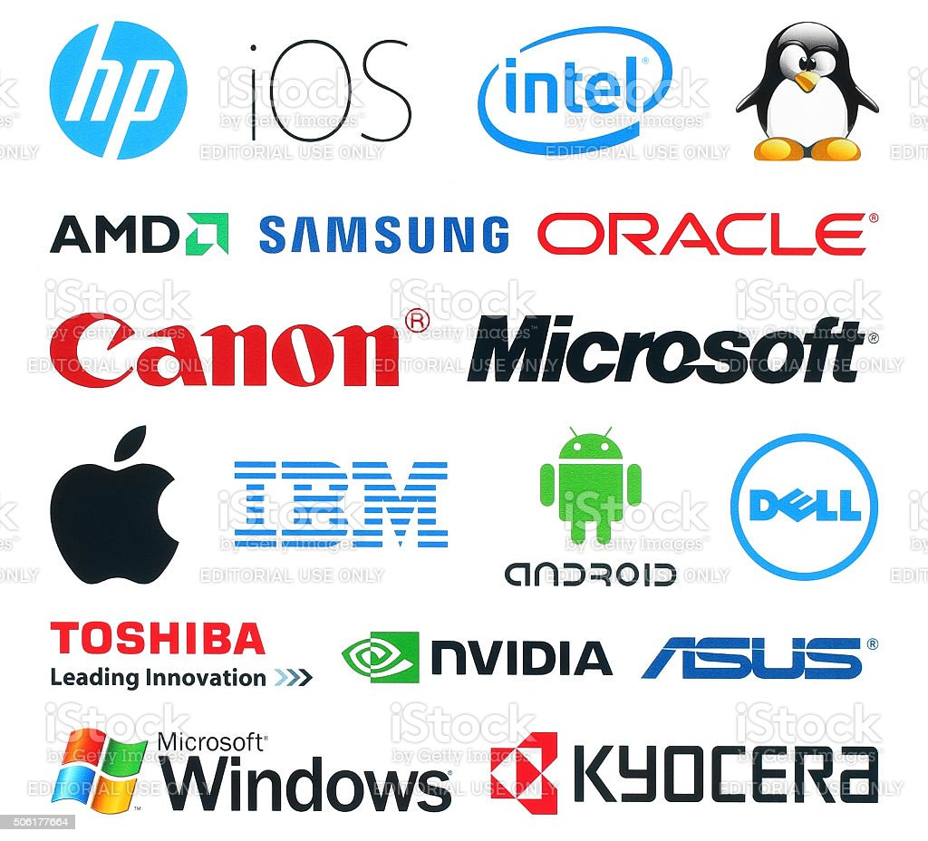 Collection of popular technology logos stock photo