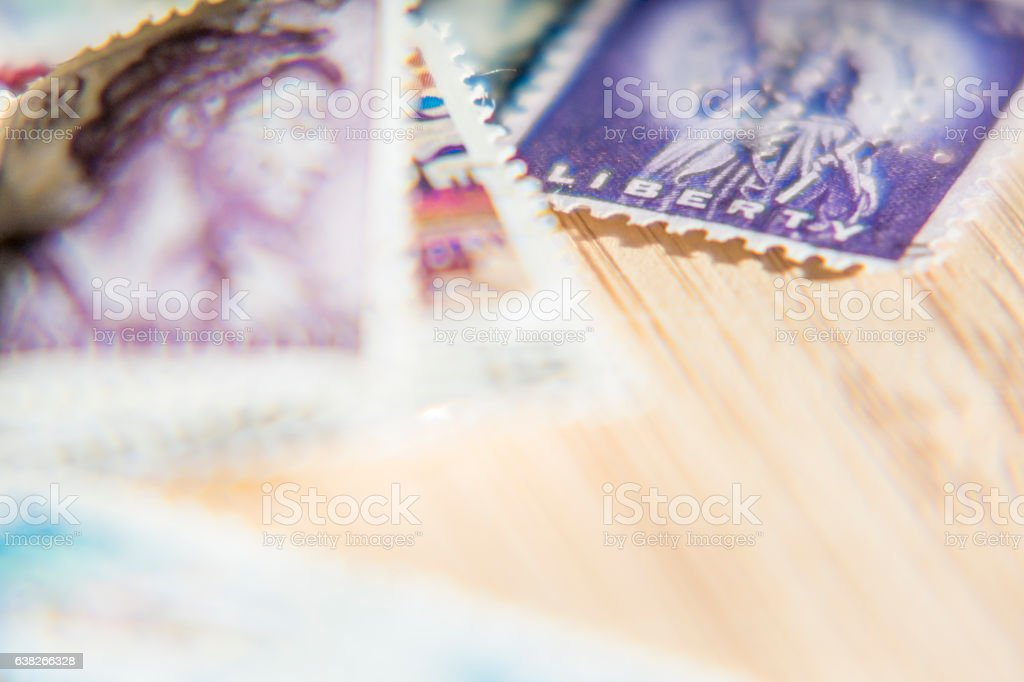 Collection de timbres poste. stock photo