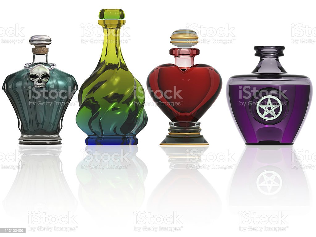 Collection of potion bottles stock photo
