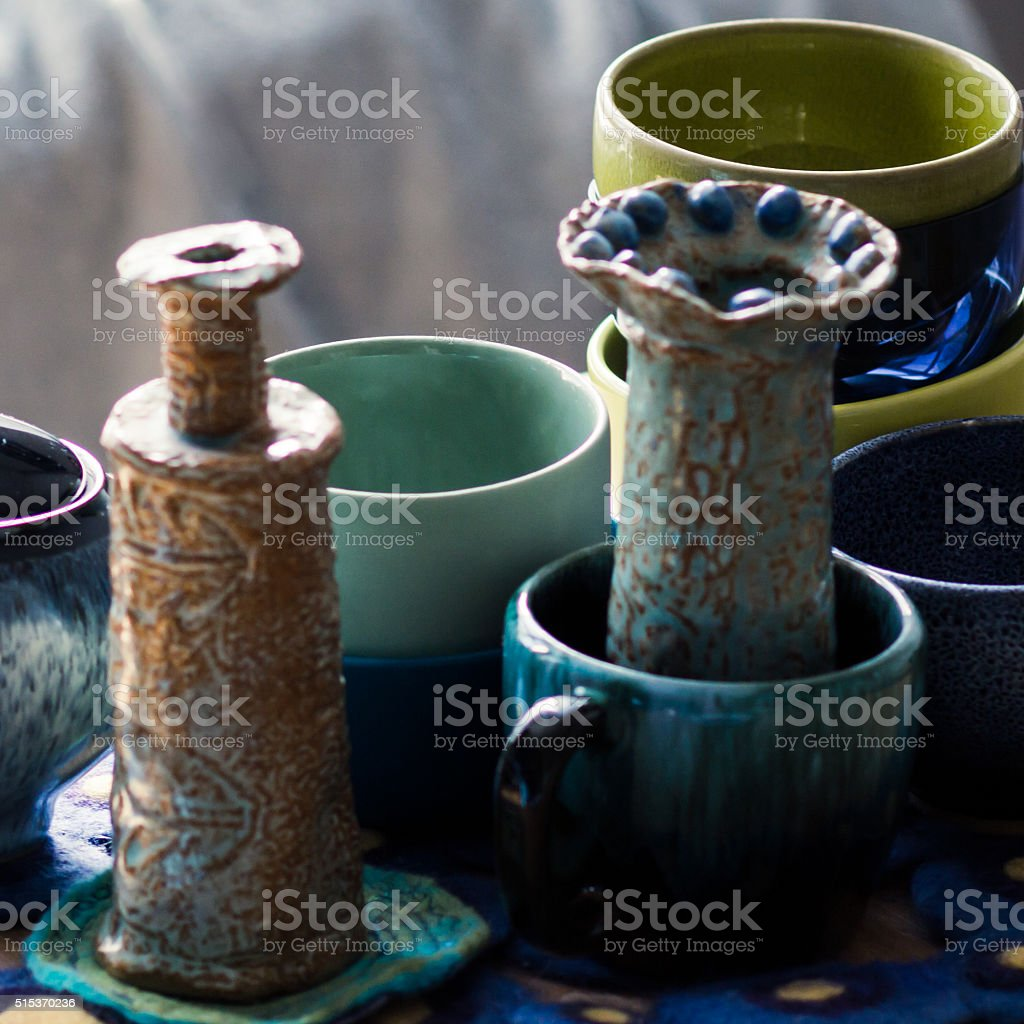 Collection of pots, cups and pottery stock photo