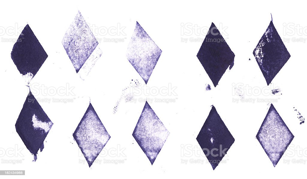 Collection of printed letterpress diamond shapes stock photo