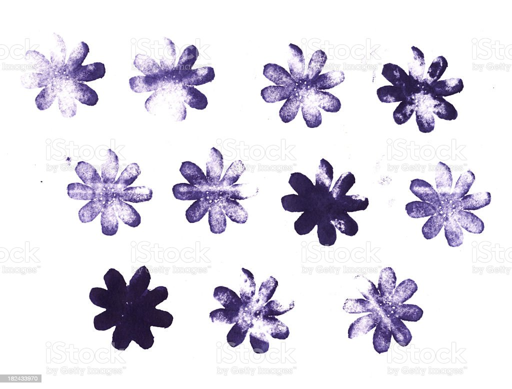 Collection of printed letterpress flower shapes stock photo
