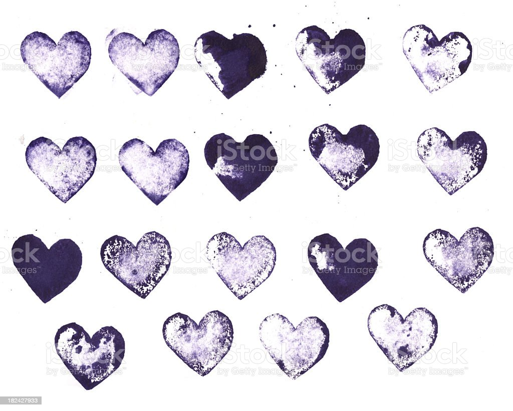 Collection of printed letterpress heart shapes stock photo