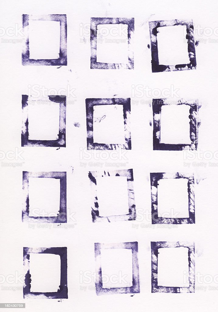 Collection of printed letterpress square shapes stock photo