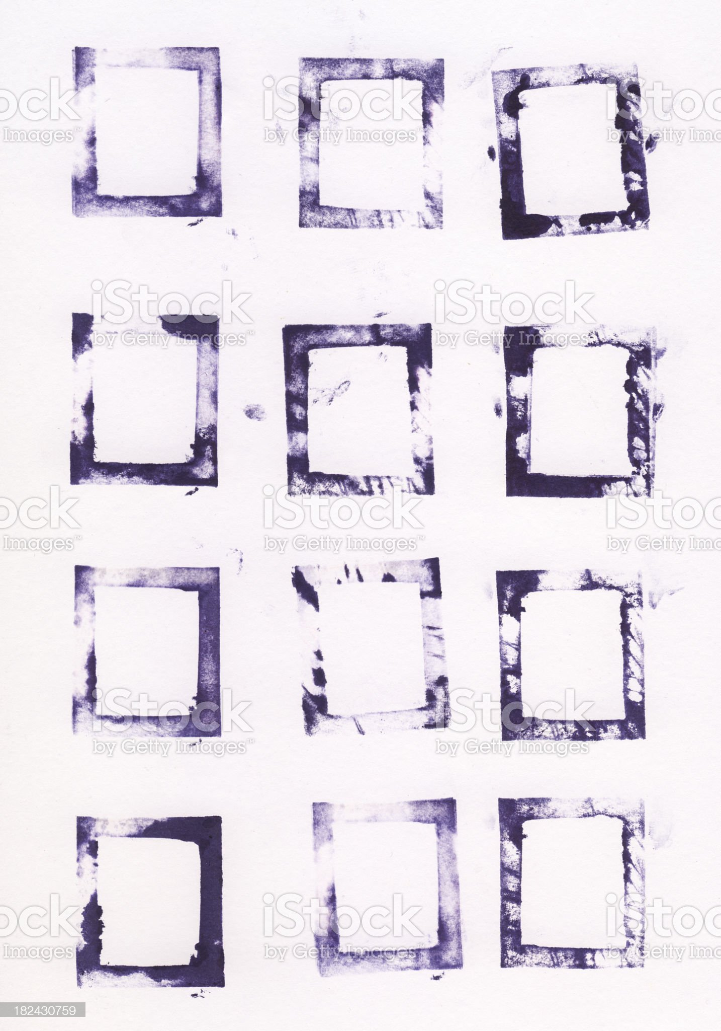 Collection of printed letterpress square shapes royalty-free stock photo