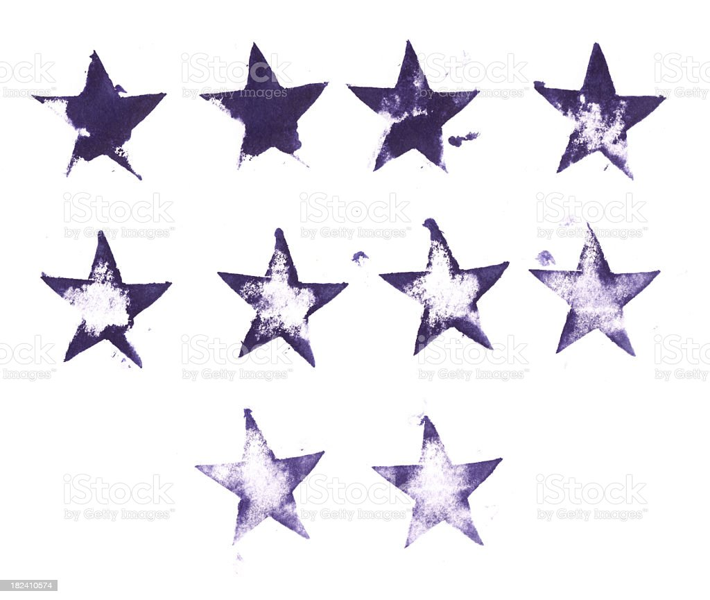 Collection of printed letterpress star shapes stock photo