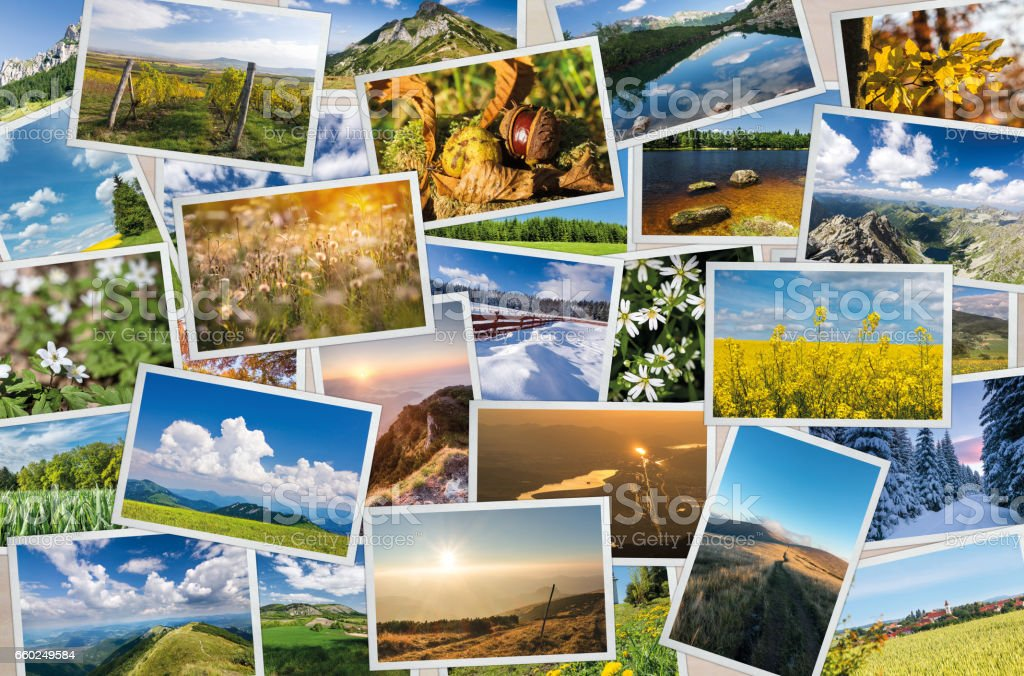 Collection of printed photos with nature and landscape themes stock photo