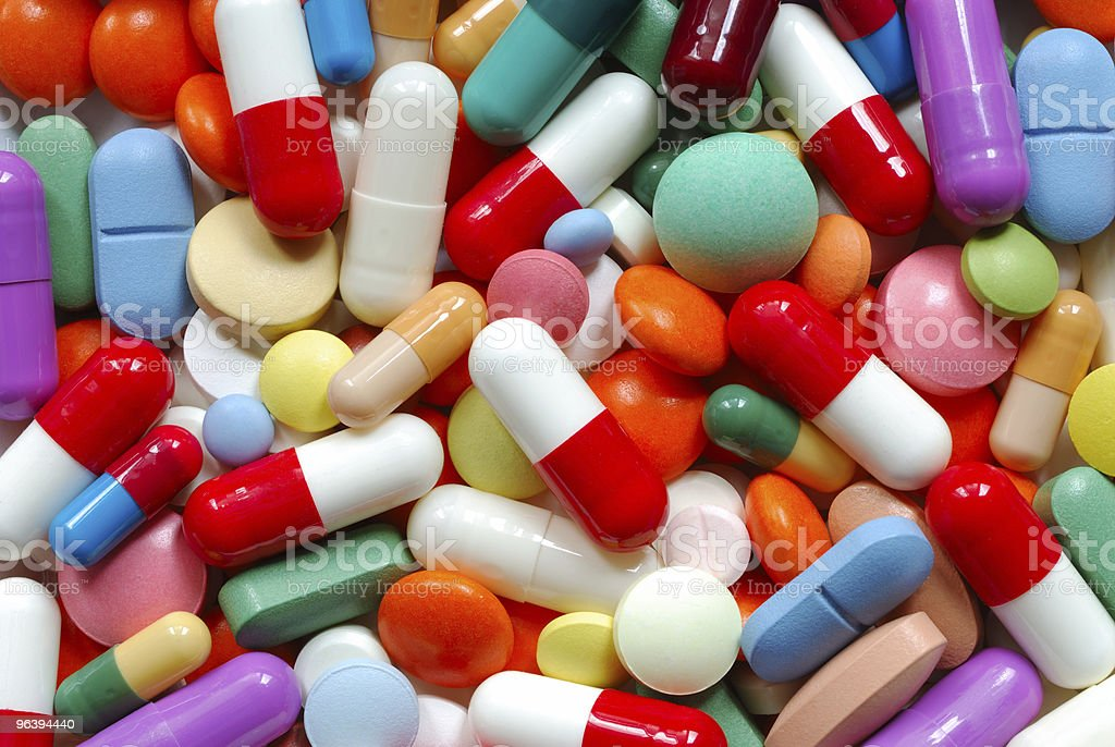 Collection of random colorful pills royalty-free stock photo