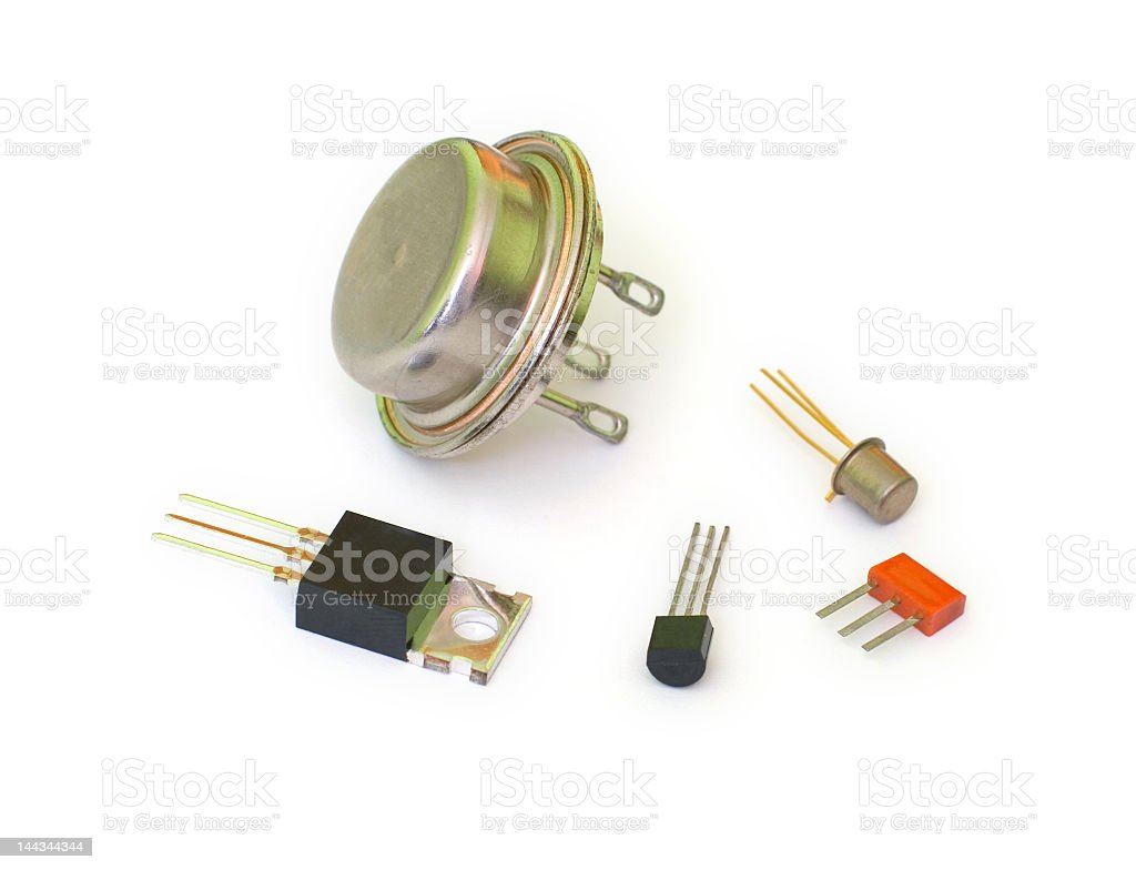 A collection of randomly sized transistors stock photo