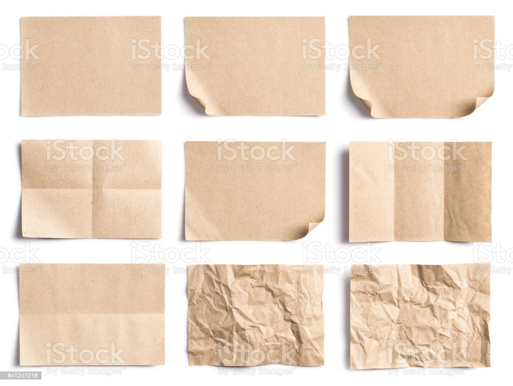 Collection of Recycled paper,crumpled paper,unfolded piece paper on white background stock photo