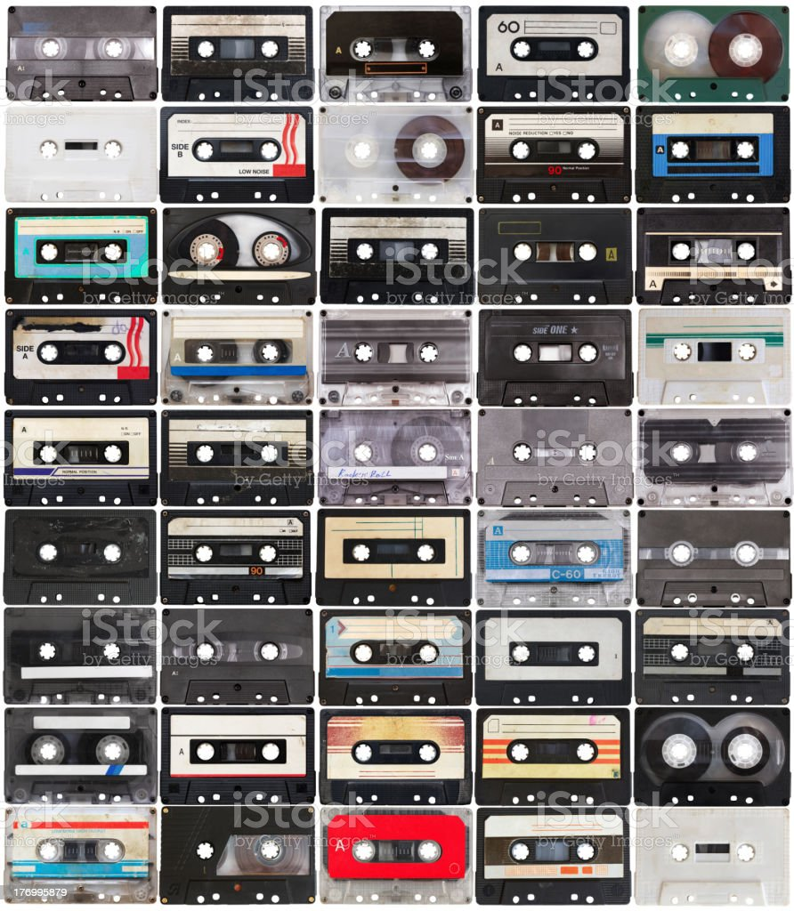 collection of retro audio tapes stock photo