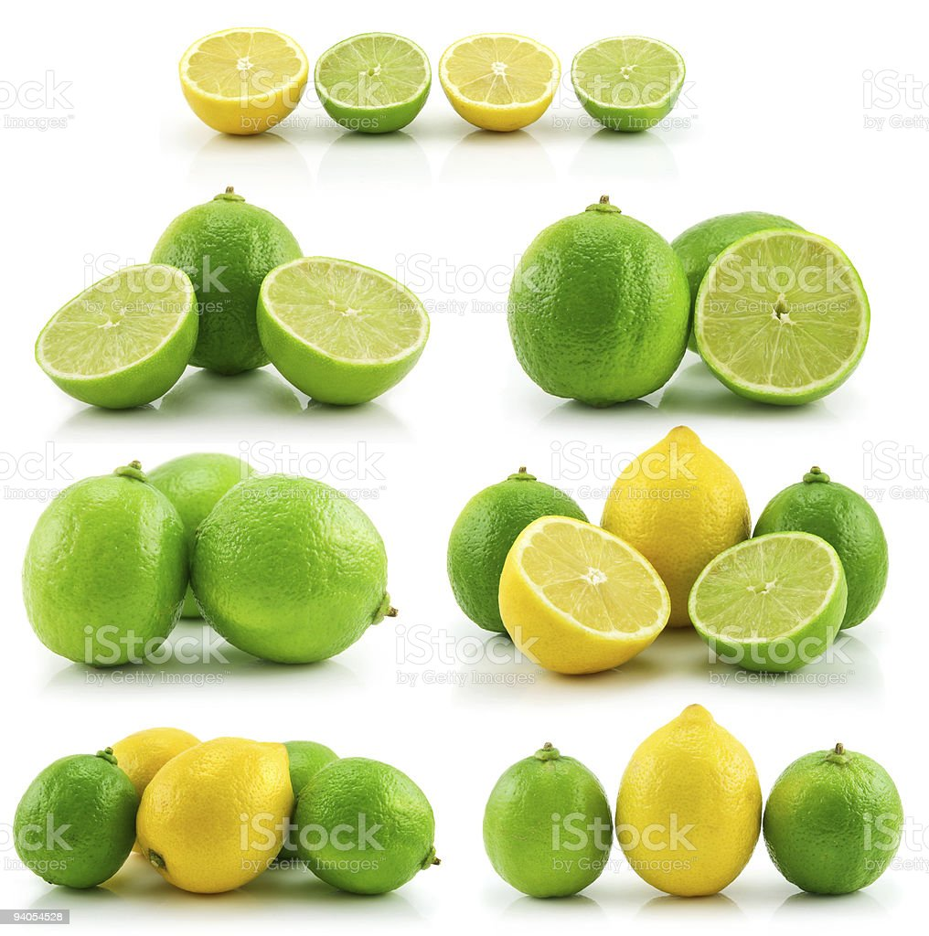 Collection of Ripe Lime and Lemon Isolated on White stock photo