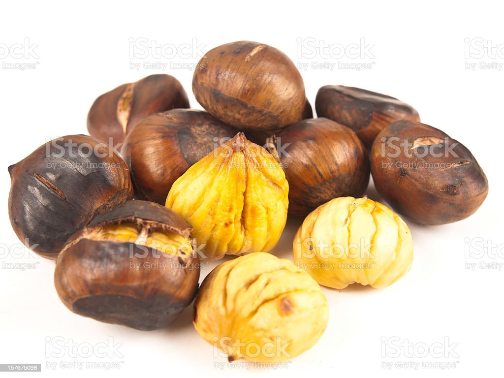 Collection of Roasted chestnuts stock photo