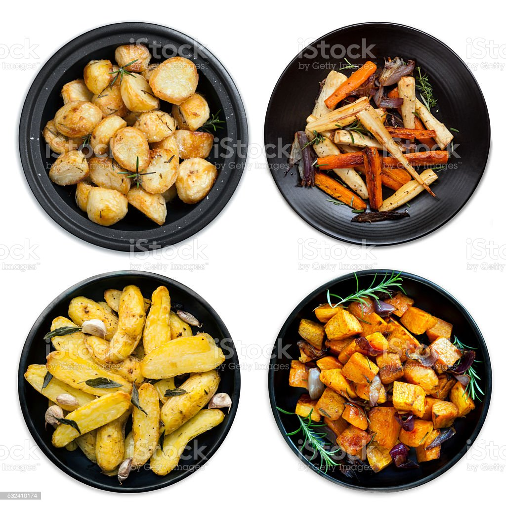 Collection of Roasted Vegetables Isolated stock photo