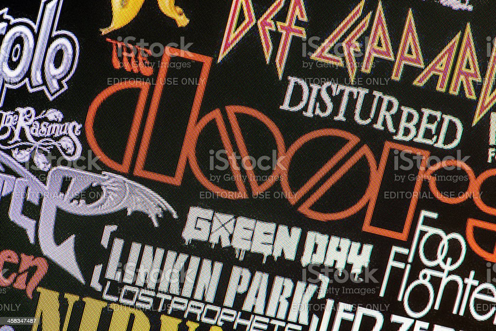 Collection of rock bands logos on computer screen stock photo