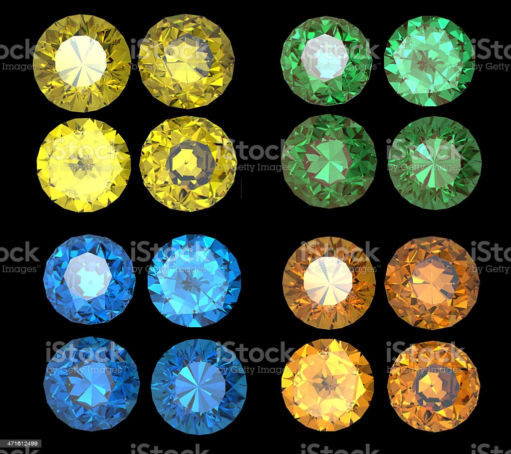 Collection of Round  gemstone royalty-free stock photo