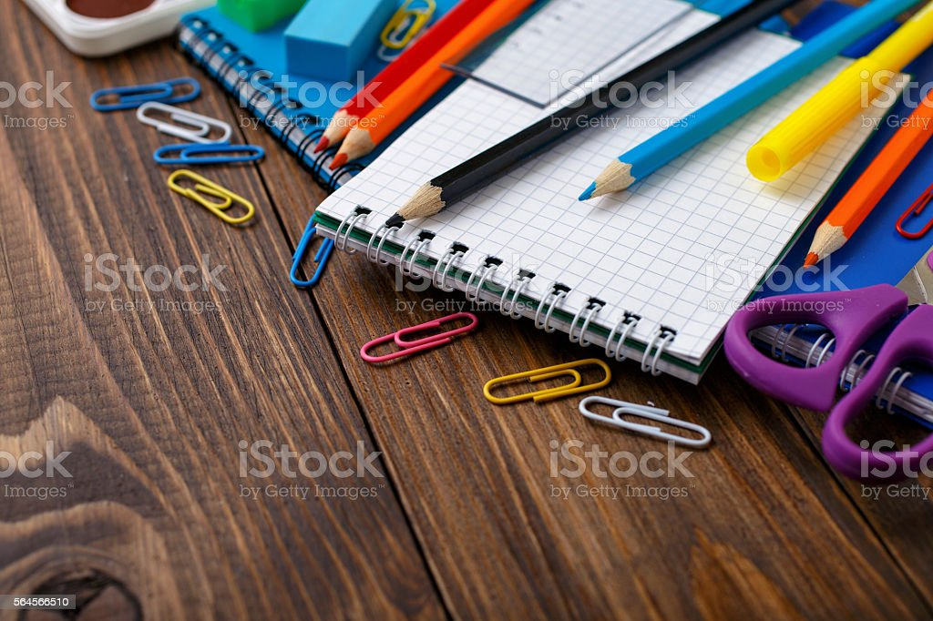 Collection of school supplies stock photo