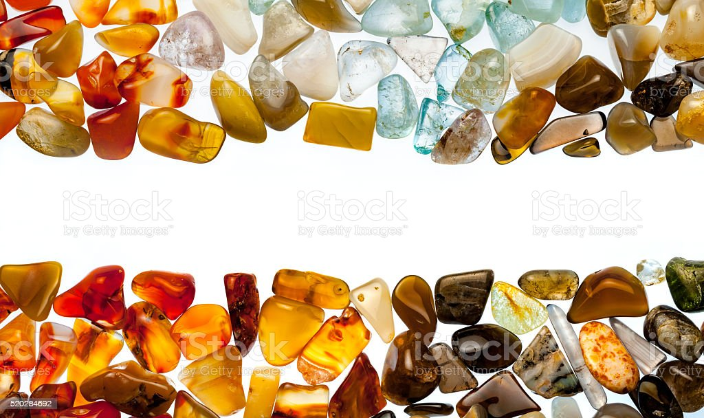 collection of semi-precious stones stock photo