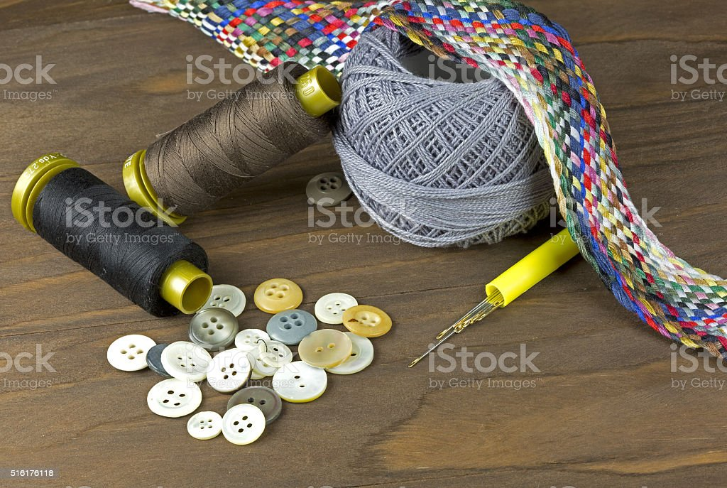 Collection of sewing tools stock photo