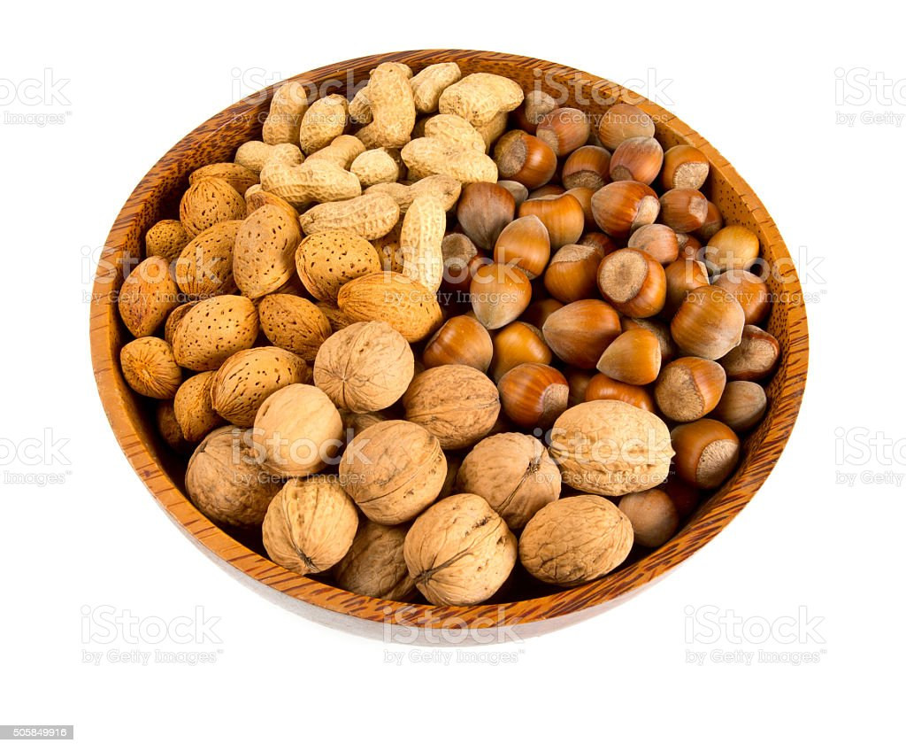 collection of shelled nuts stock photo