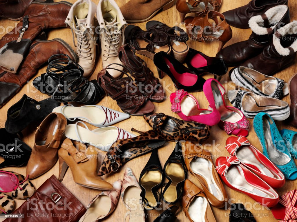 Collection of Shoes and Boots royalty-free stock photo