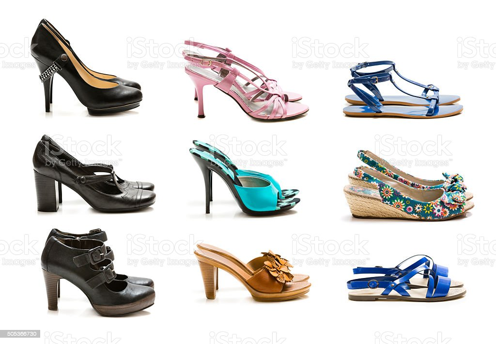 Collection of shoes isolated on white background stock photo