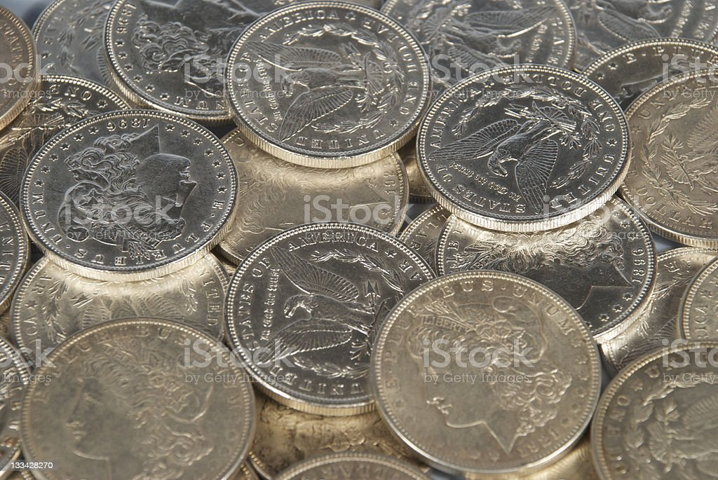Collection of Silver Dollars royalty-free stock photo