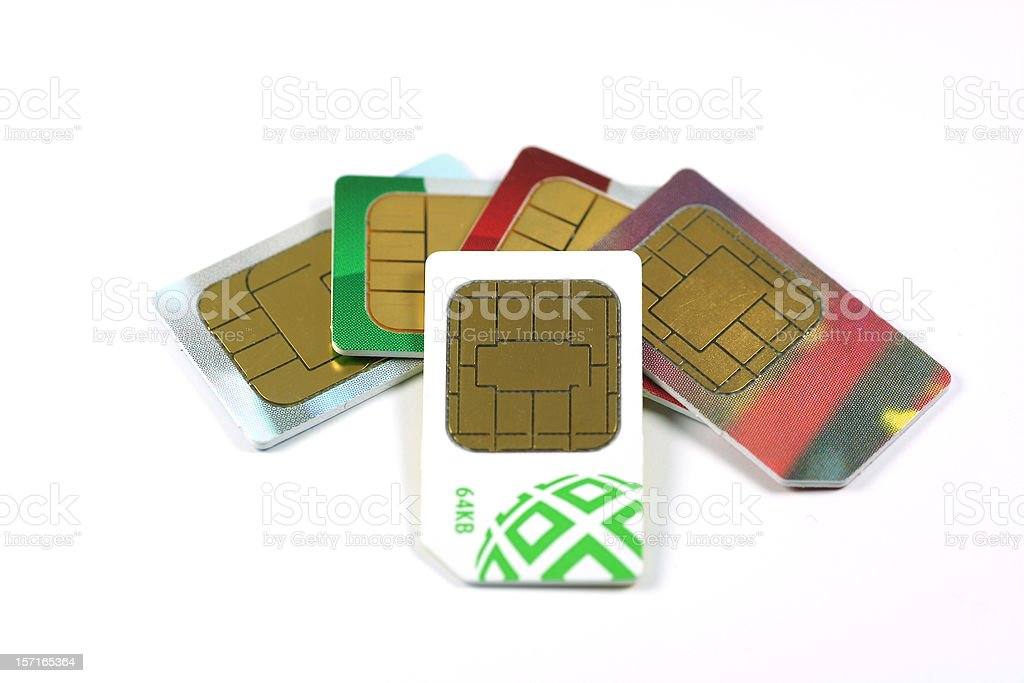 Collection of SIM cards royalty-free stock photo