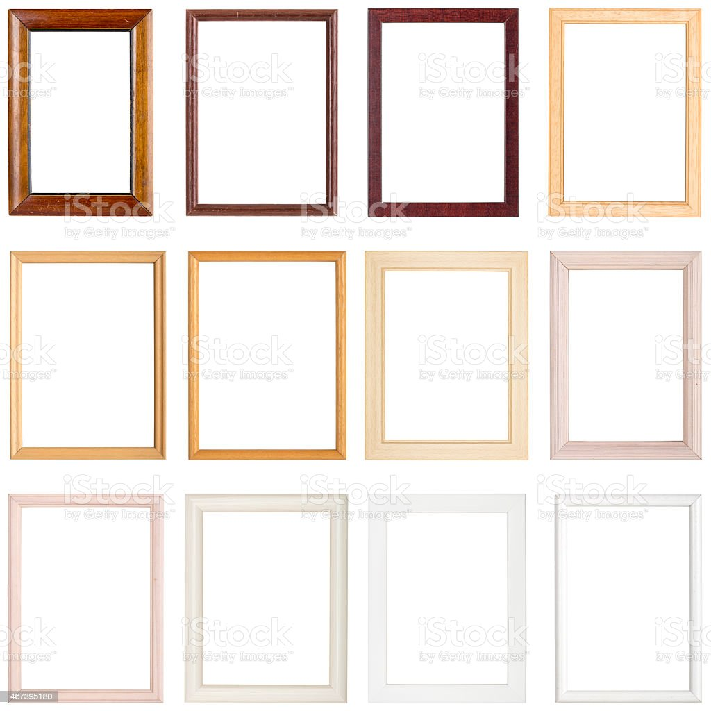 collection of simple wooden picture frames stock photo