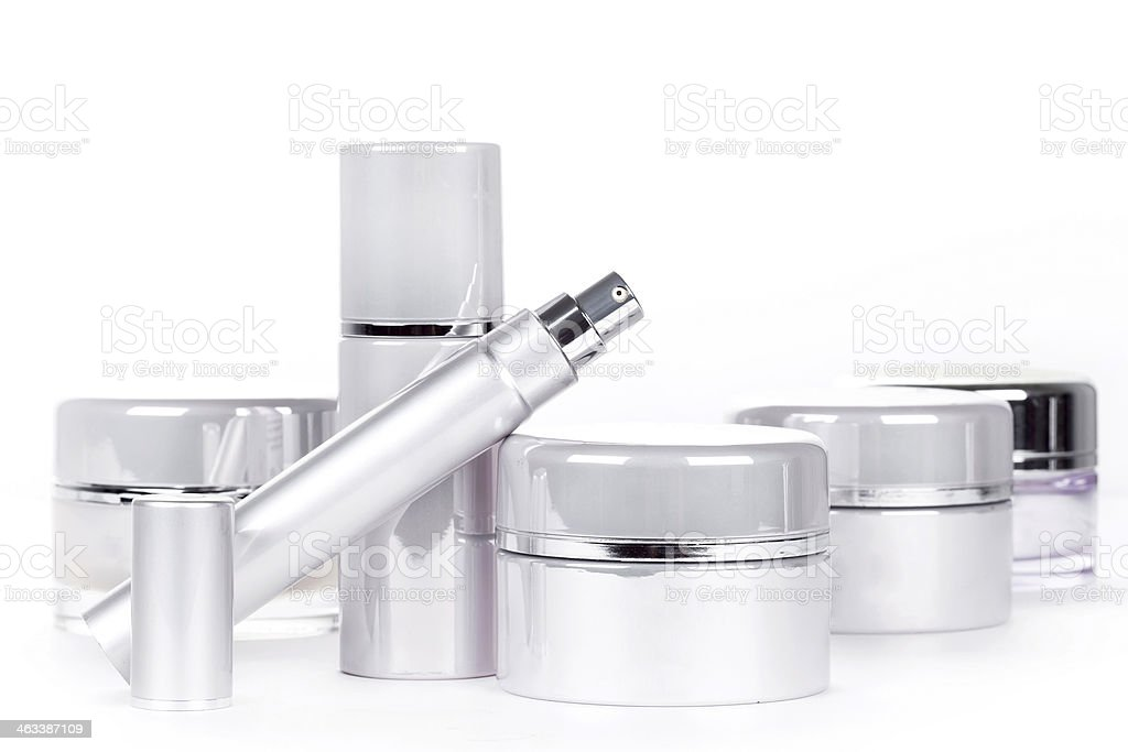 Collection of skincare items with no labels on stock photo