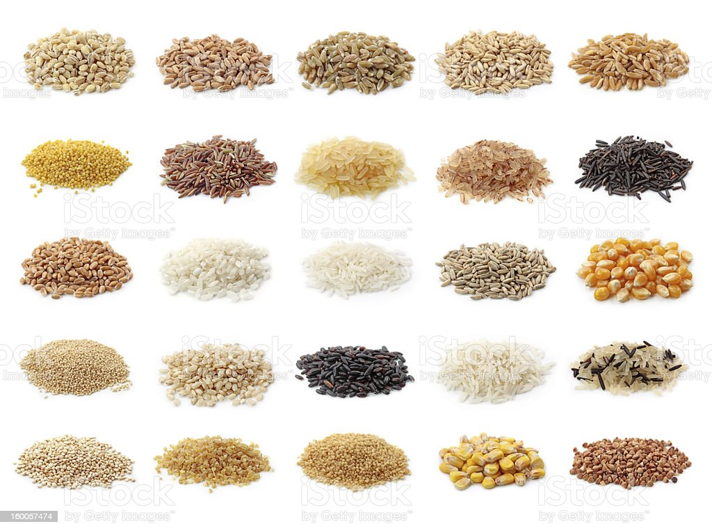 Collection of small mounds of grain cereals stock photo